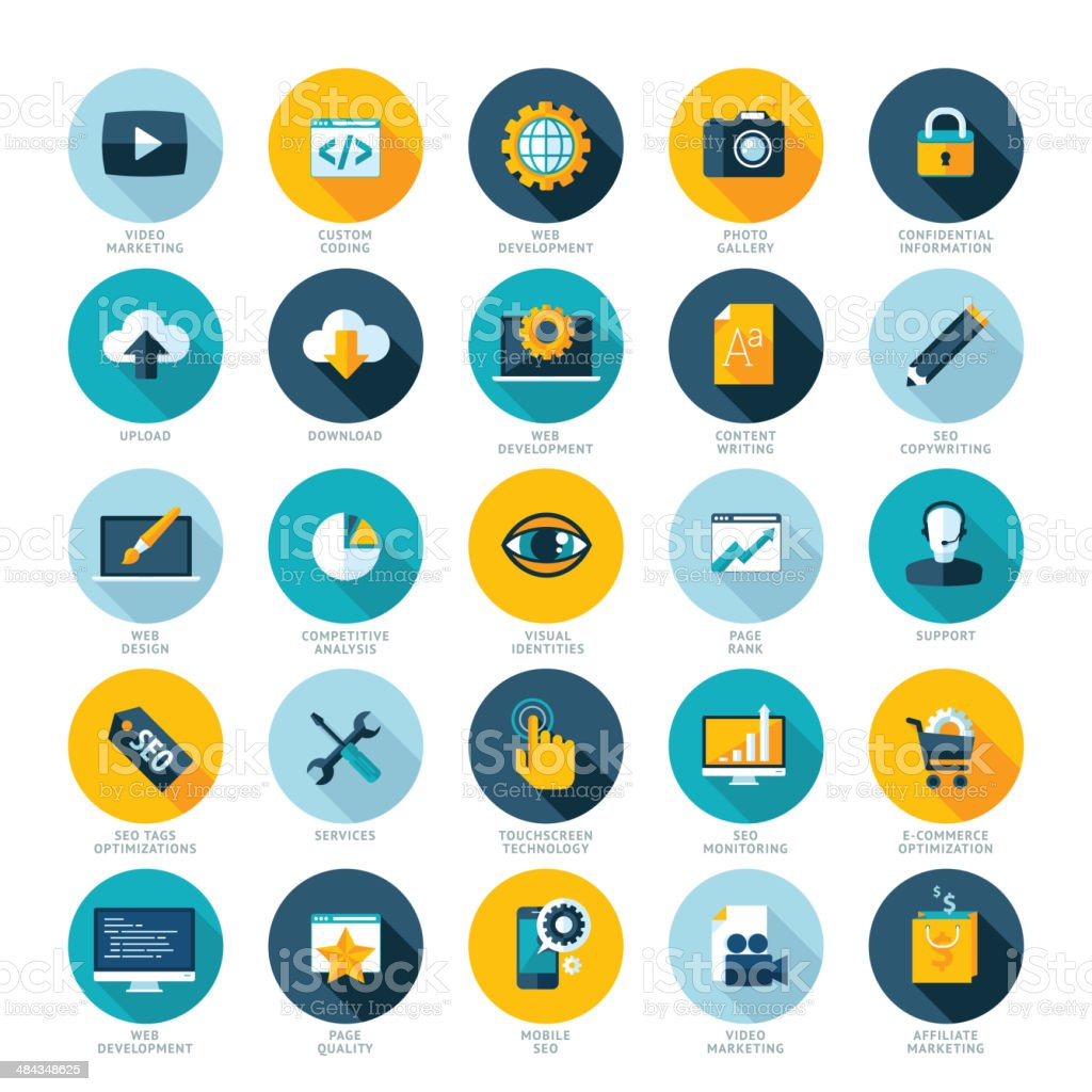 Flat design icons for web design development, SEO and internet marketing vector art illustration