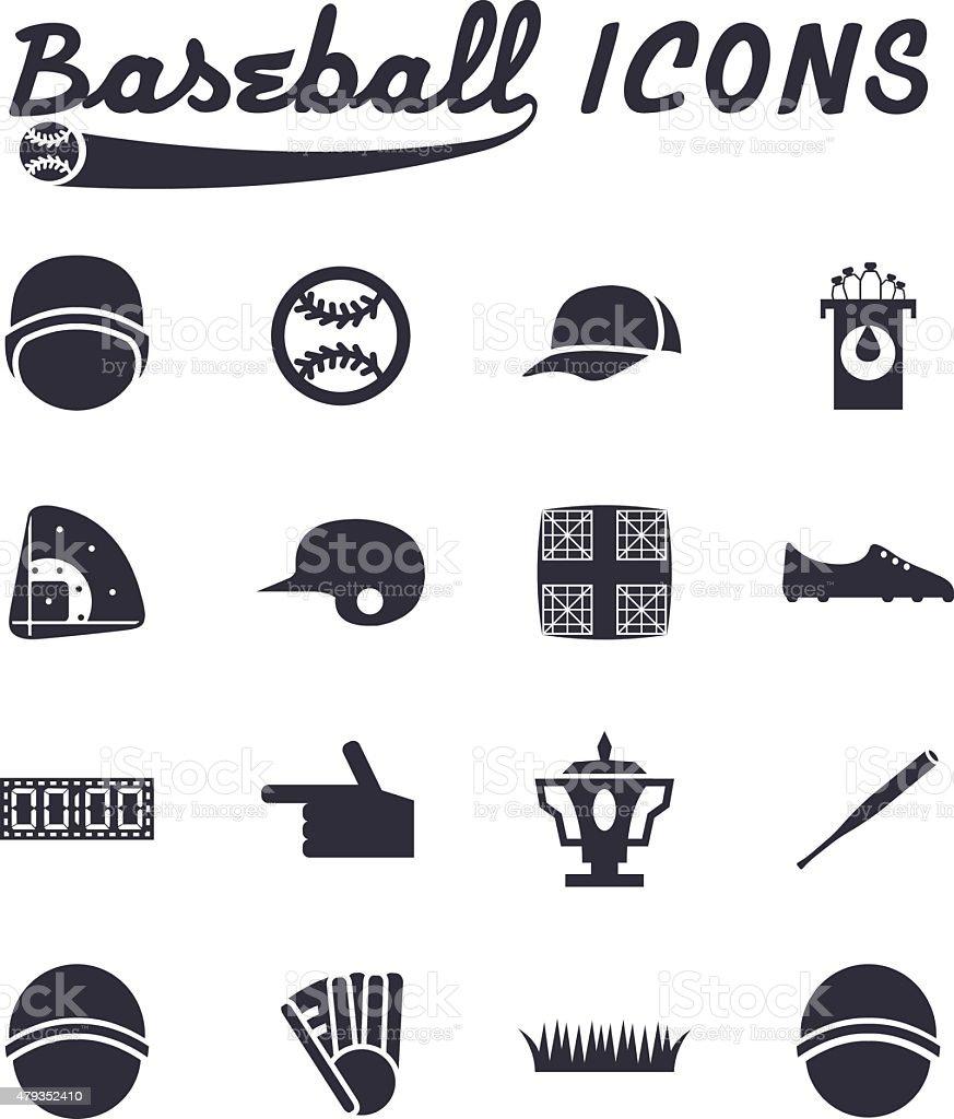 flat design icons of baseball vector art illustration
