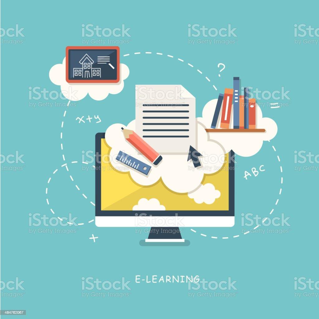 flat design illustration concept for online education vector art illustration