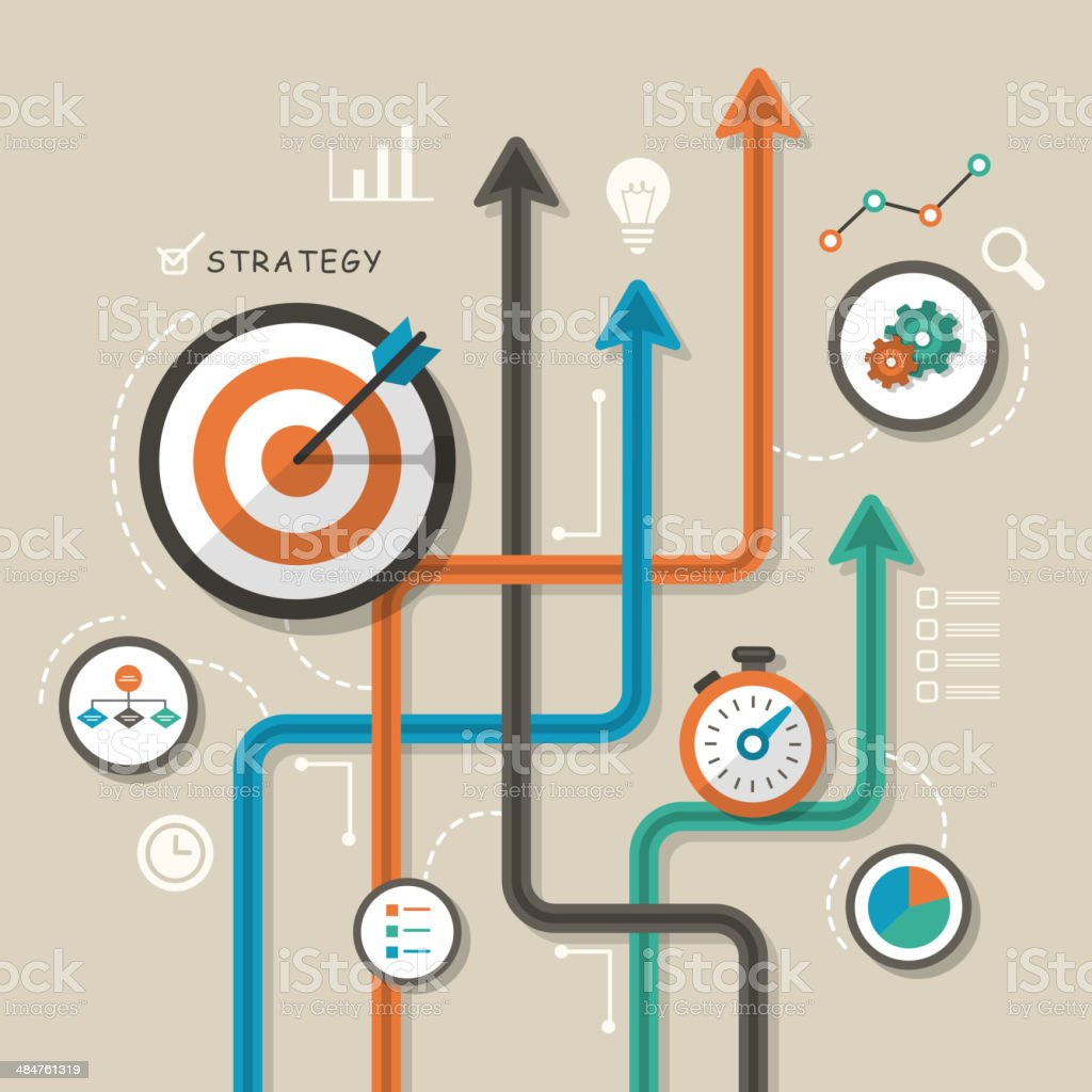 flat design illustration concept for strategy vector art illustration