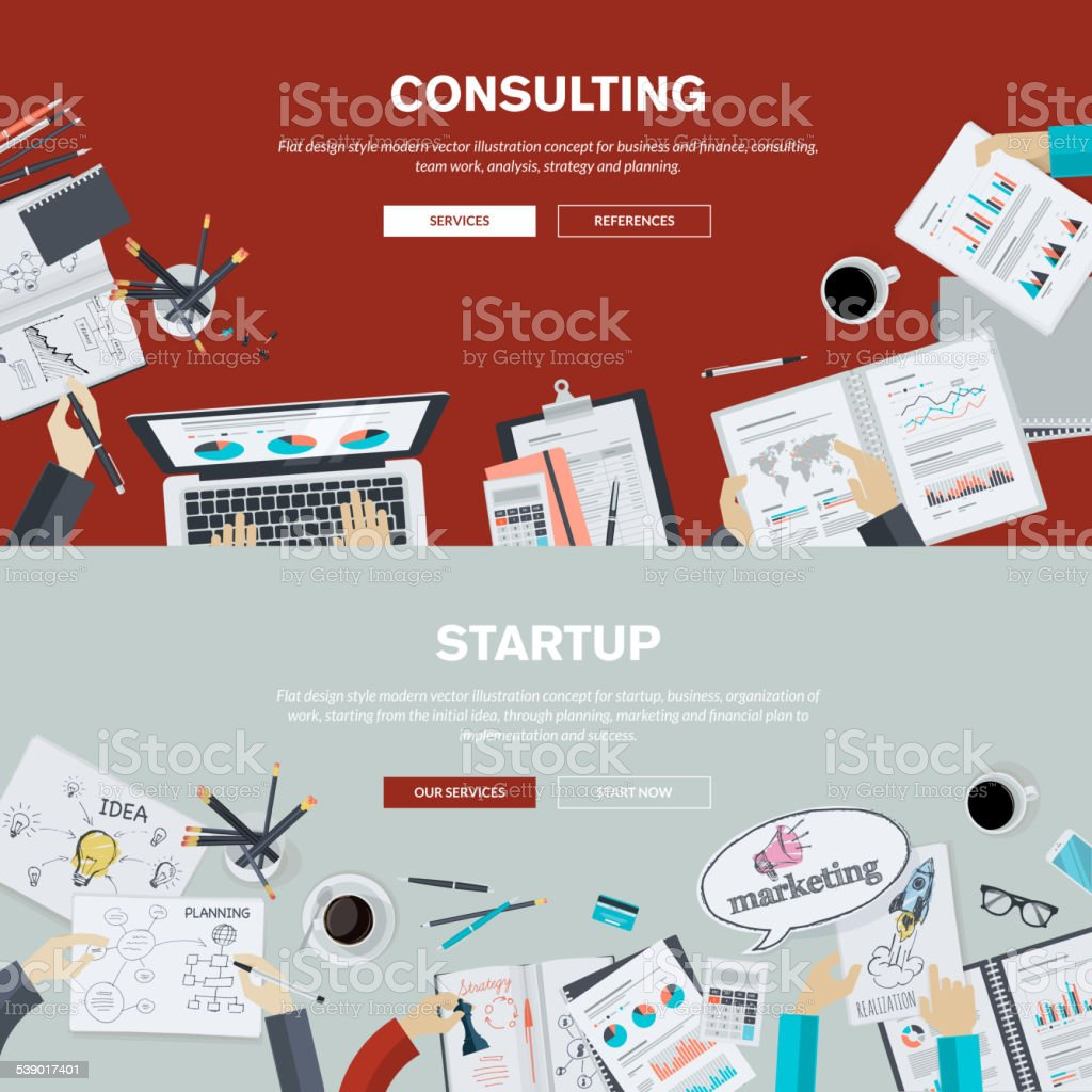 Flat design illustration concepts for business consulting and startup vector art illustration