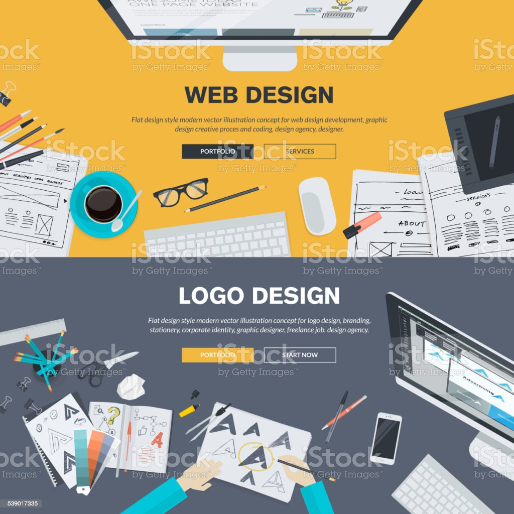 Flat design illustration concepts for web design development and logo design vector art illustration