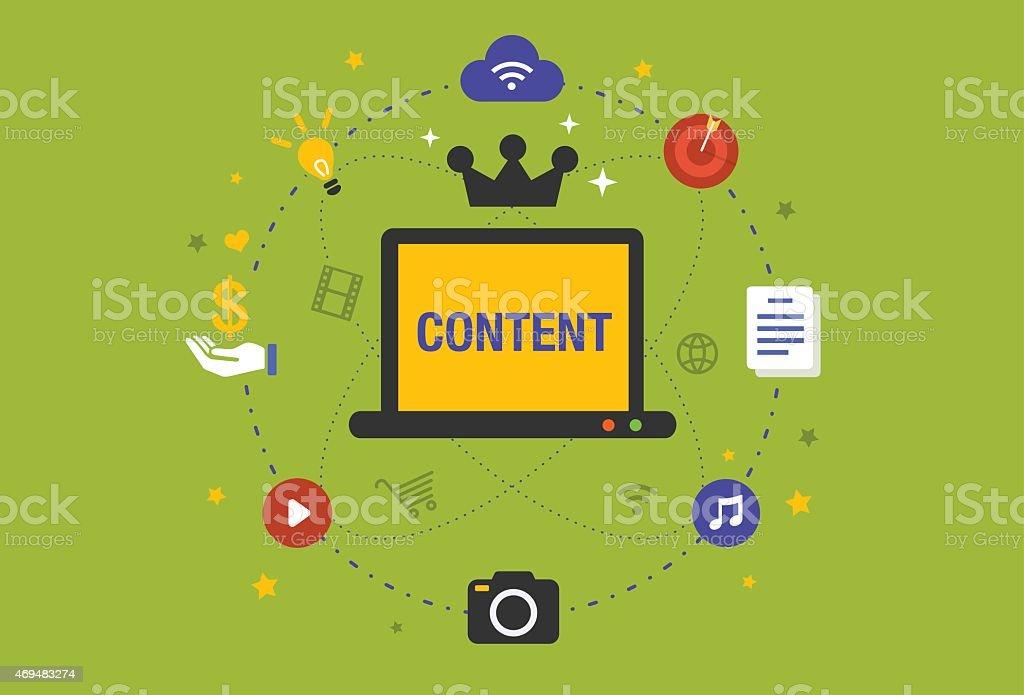 Flat design Illustration: Content is king in digital marketing vector art illustration