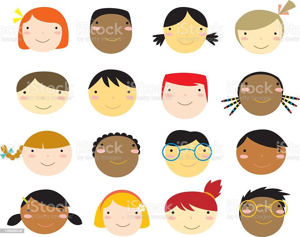 Flat Design Illustration Of Childrens Faces stock vector art ...