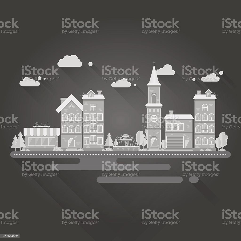 Flat design illustration of city landscape. vector art illustration