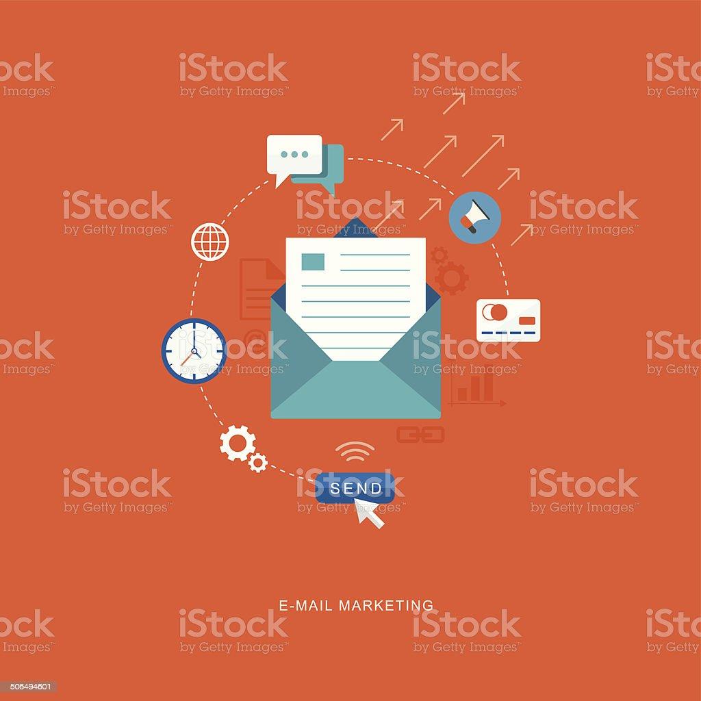 Flat design illustration with icons. E-mai marketing vector art illustration