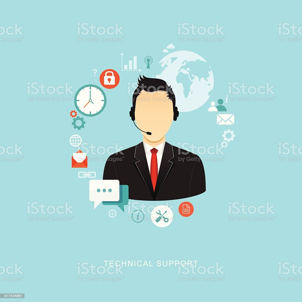 Flat design illustration with icons. Technical support assistant vector art illustration