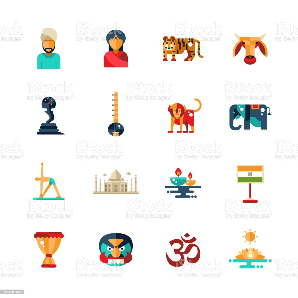 Flat design India travel icons, infographics elements with Indian symbols vector art illustration