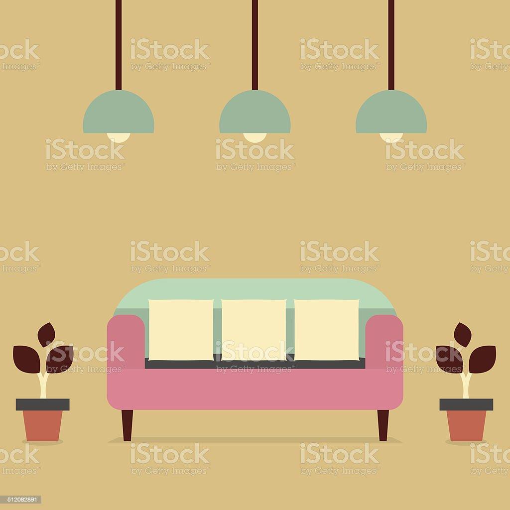 Flat Design Interior Vintage Sofa vector art illustration