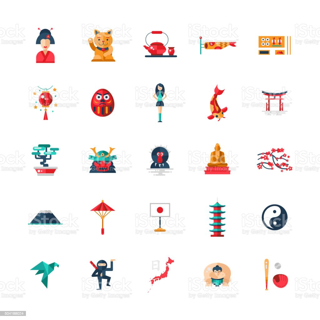 Flat design Japan travel icons, infographics elements with Japanese symbols vector art illustration