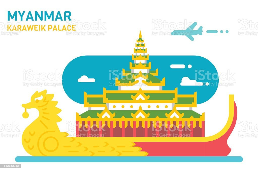 Flat design Karaweik palace vector art illustration