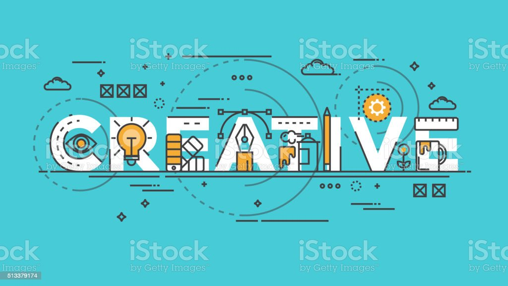 Flat design line concept -Creative vector art illustration