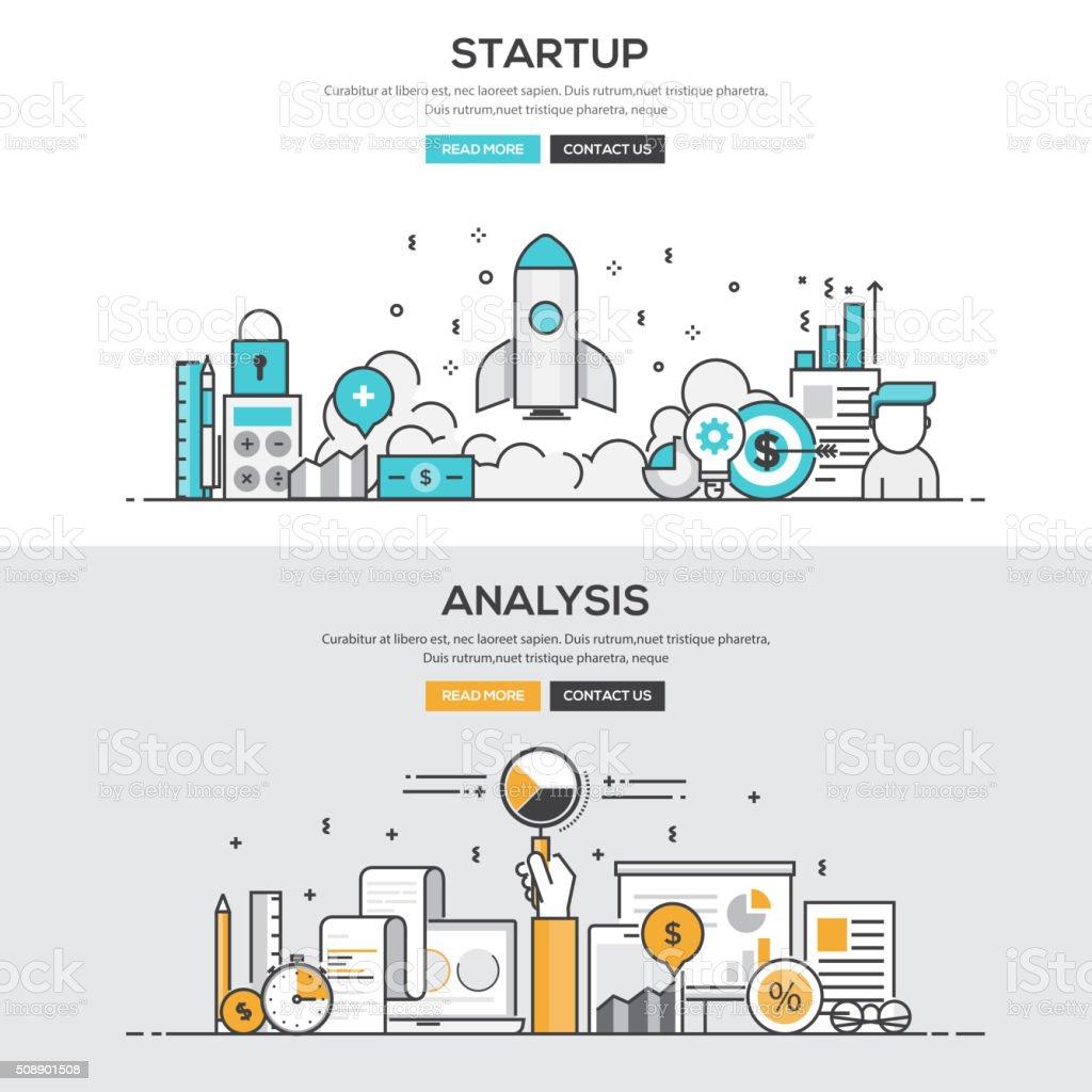 Flat design line concept - Start up & Analysis vector art illustration