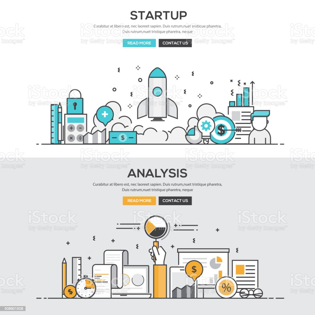 Flat design line concept - Start up & Analysis vector art illustration