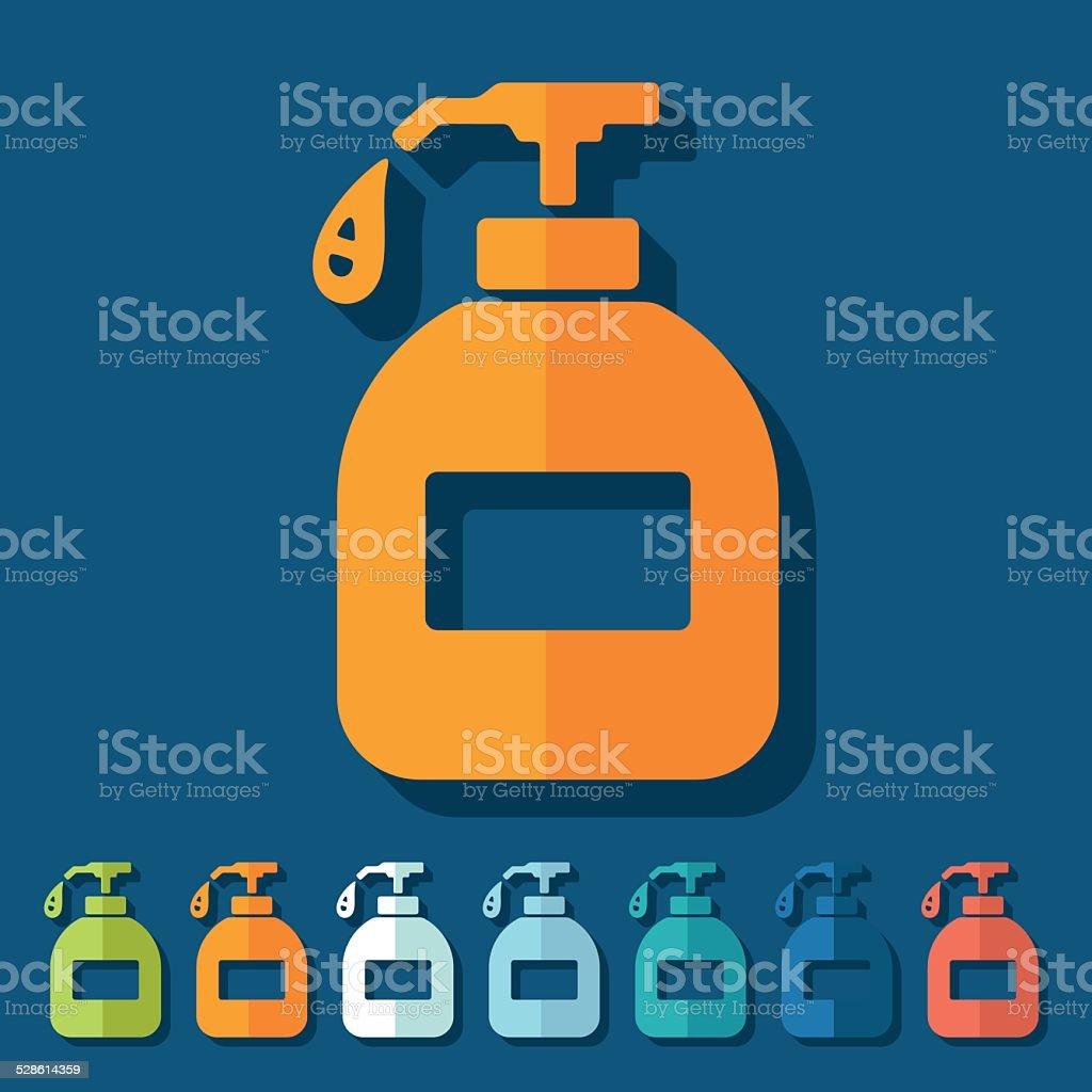 Flat design: liquid soap vector art illustration