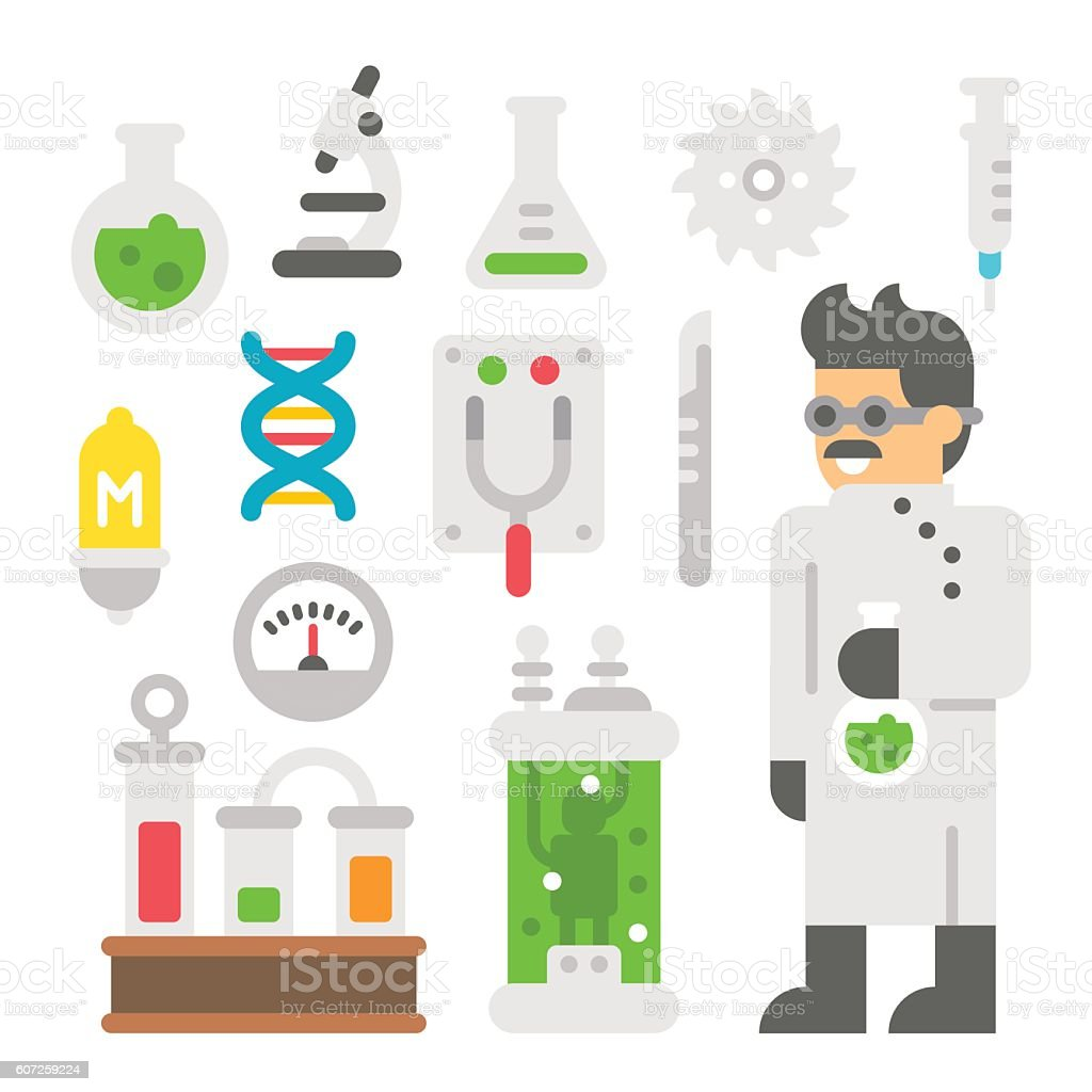 Flat design mad scientist item set vector art illustration