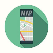 Flat Design Map Icon With Long Shadow