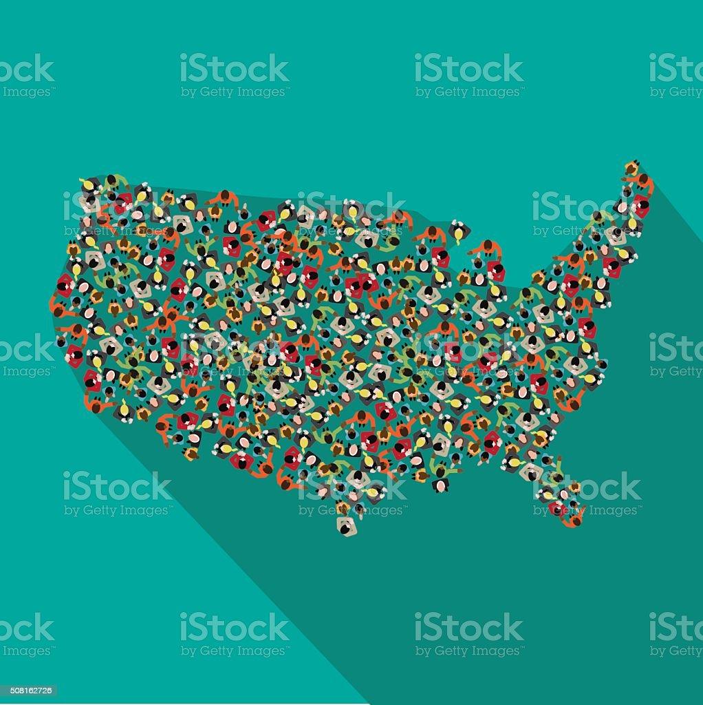 Flat design map of the United States vector art illustration
