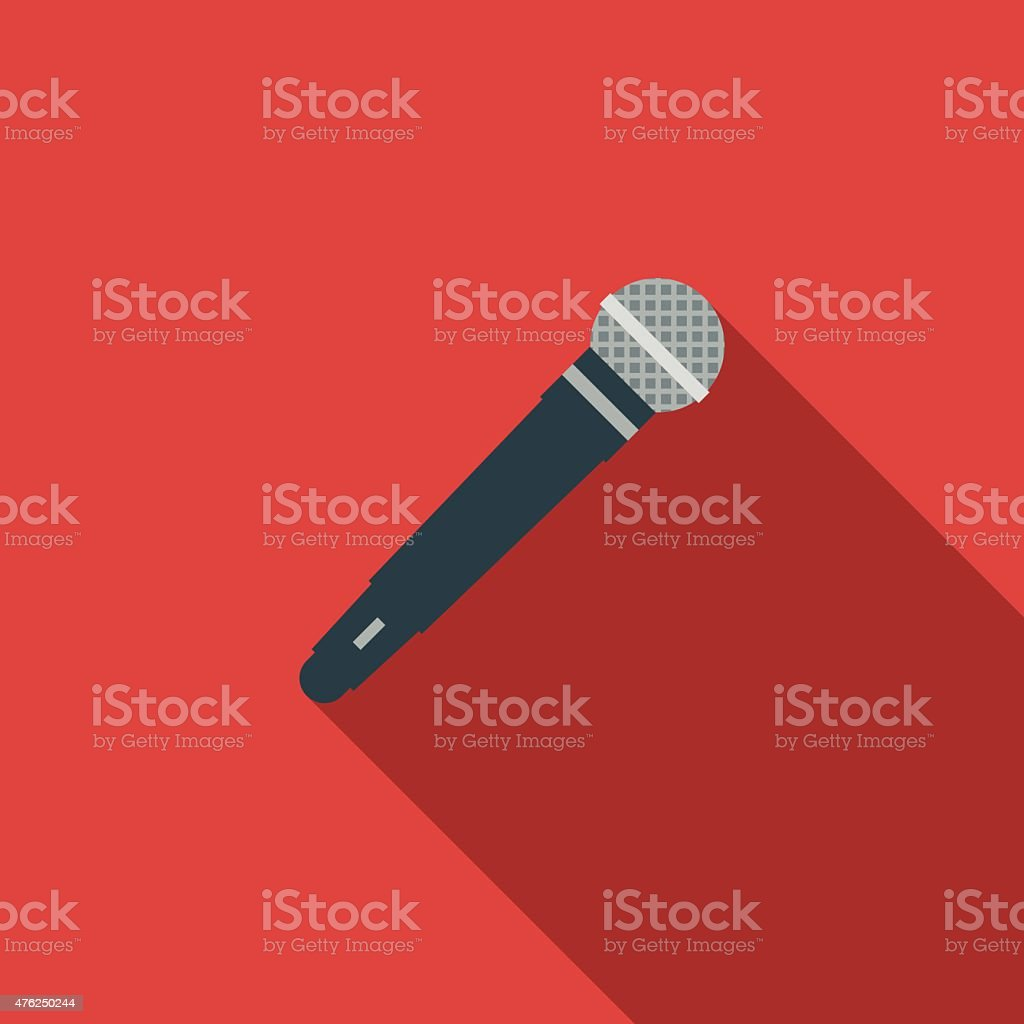 Flat Design Microphone Icon With Long Shadow vector art illustration