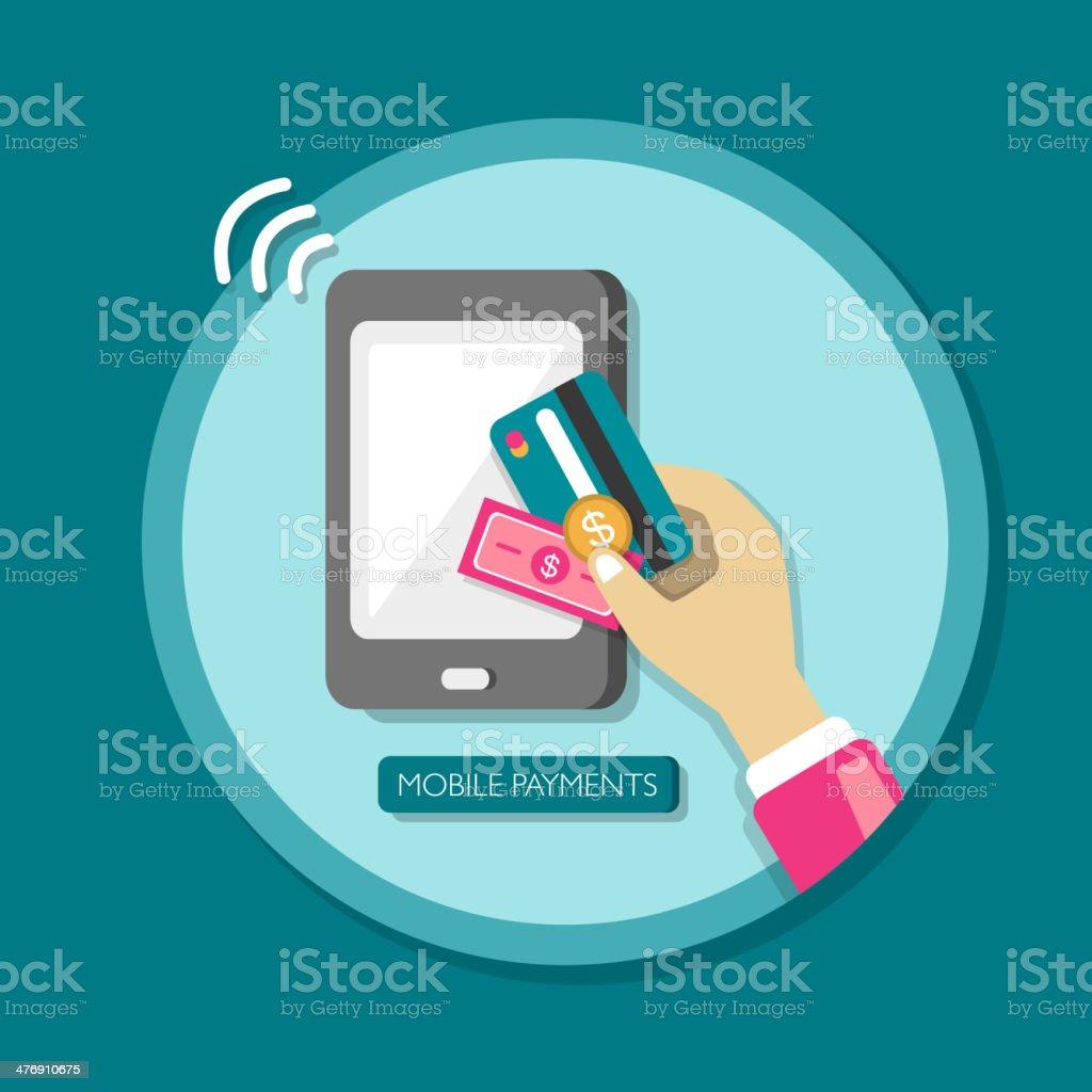 flat design mobile payments vector art illustration