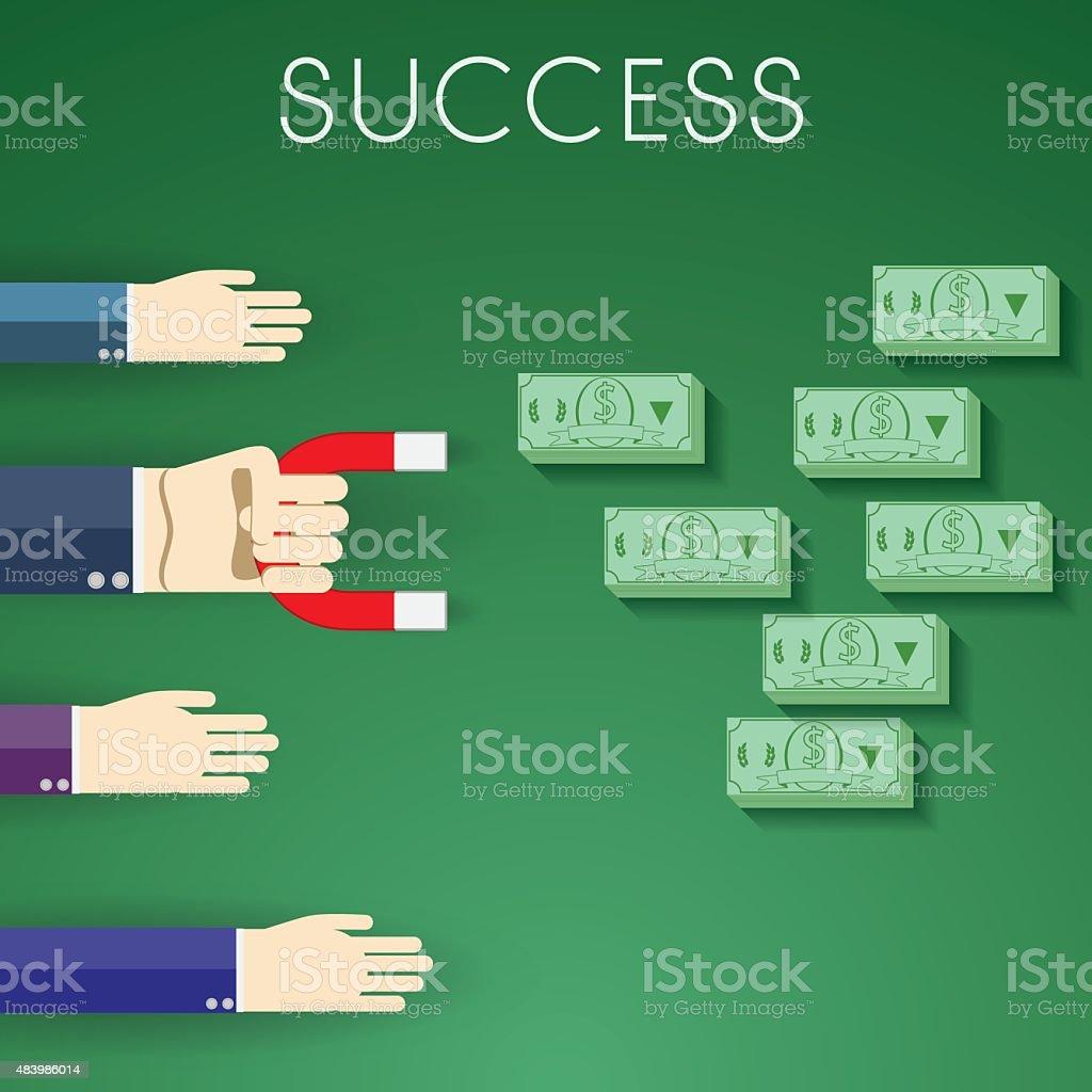 Flat design modern vector illustration of sign success and money vector art illustration
