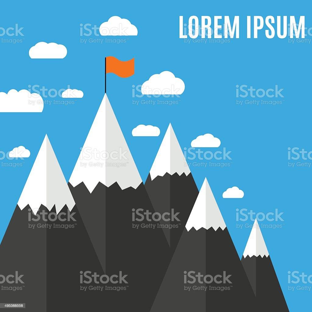 Flat design mountain peak vector art illustration