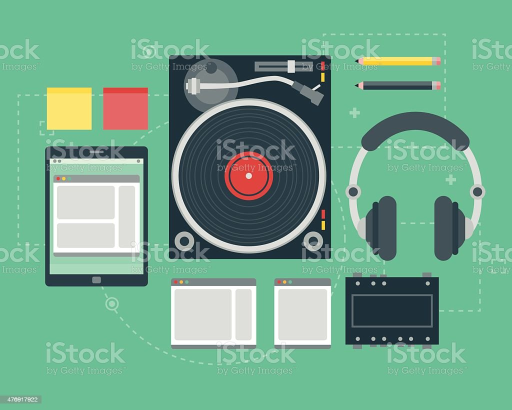 Flat Design Music Elements Icon Set vector art illustration