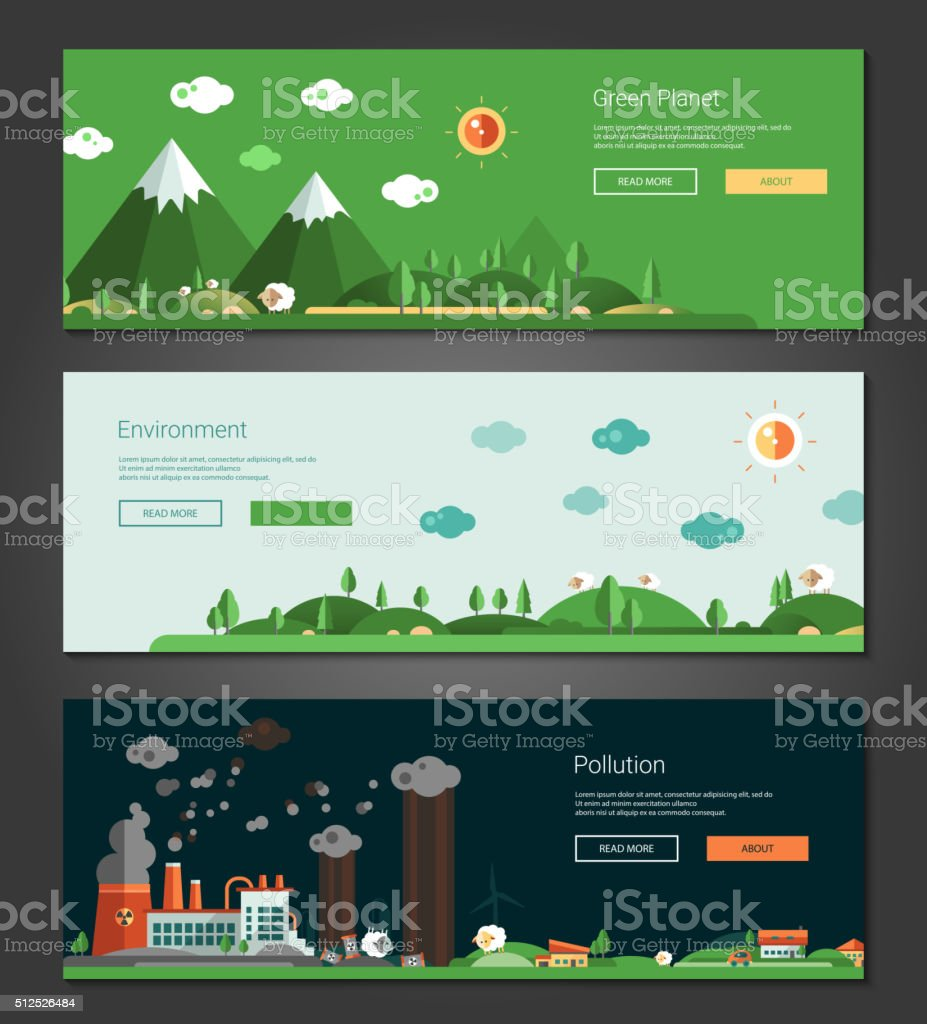 Flat design natural and ecological landscapes banners set vector art illustration