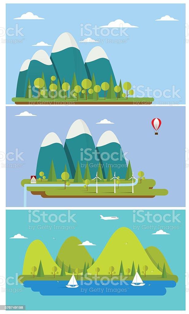Flat design nature landscape illustration with sun, hills and clouds. vector art illustration