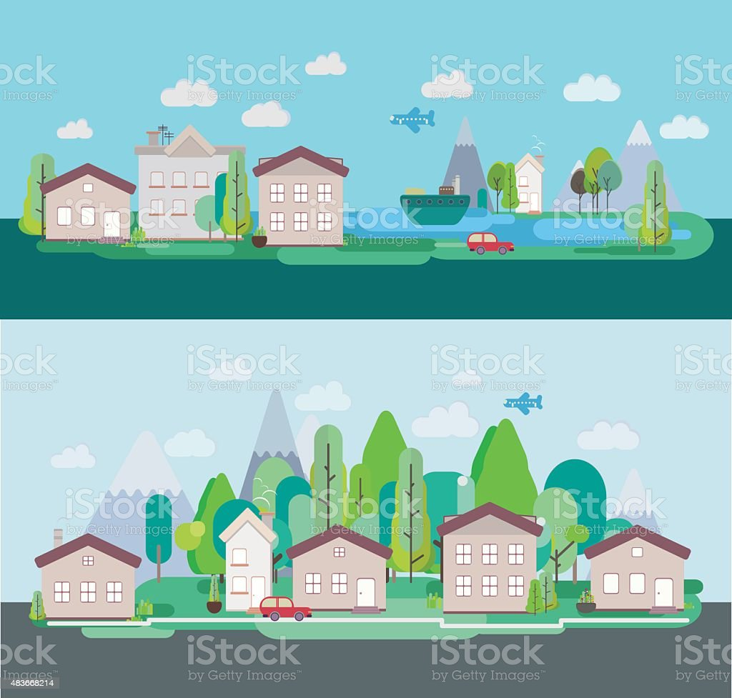 Poster design landscape - Flat Design Nature Landscape Tourism Vikend Web Poster Royalty Free Stock Vector Art