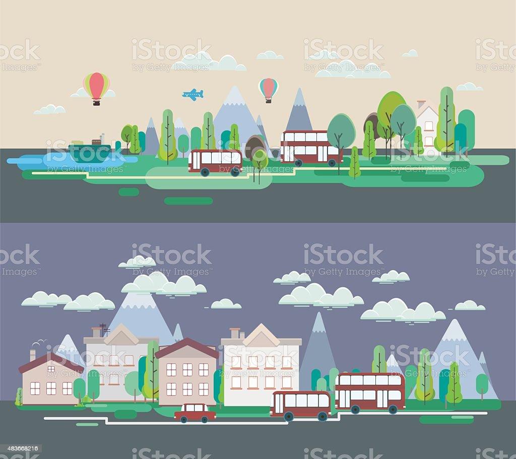 Poster design landscape -  Flat Design Nature Landscape Tourism Vikend Web Poster