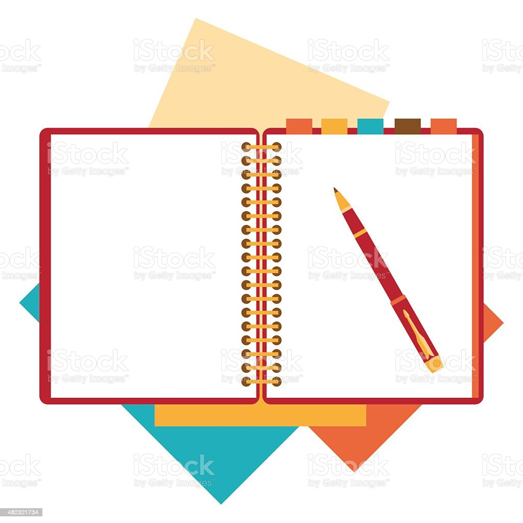 Flat design notepad, paper sheet. vector art illustration