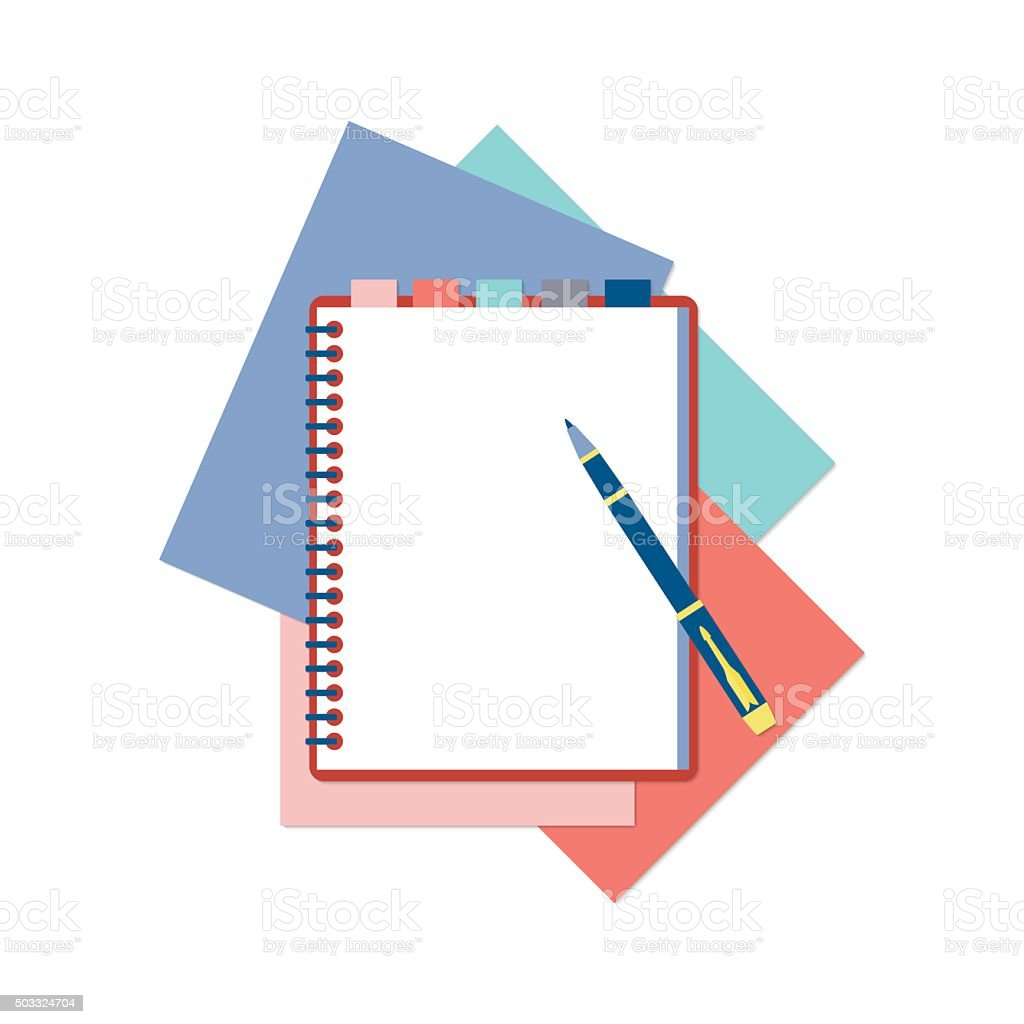 Flat design notepad, pen and color sheets of paper vector art illustration
