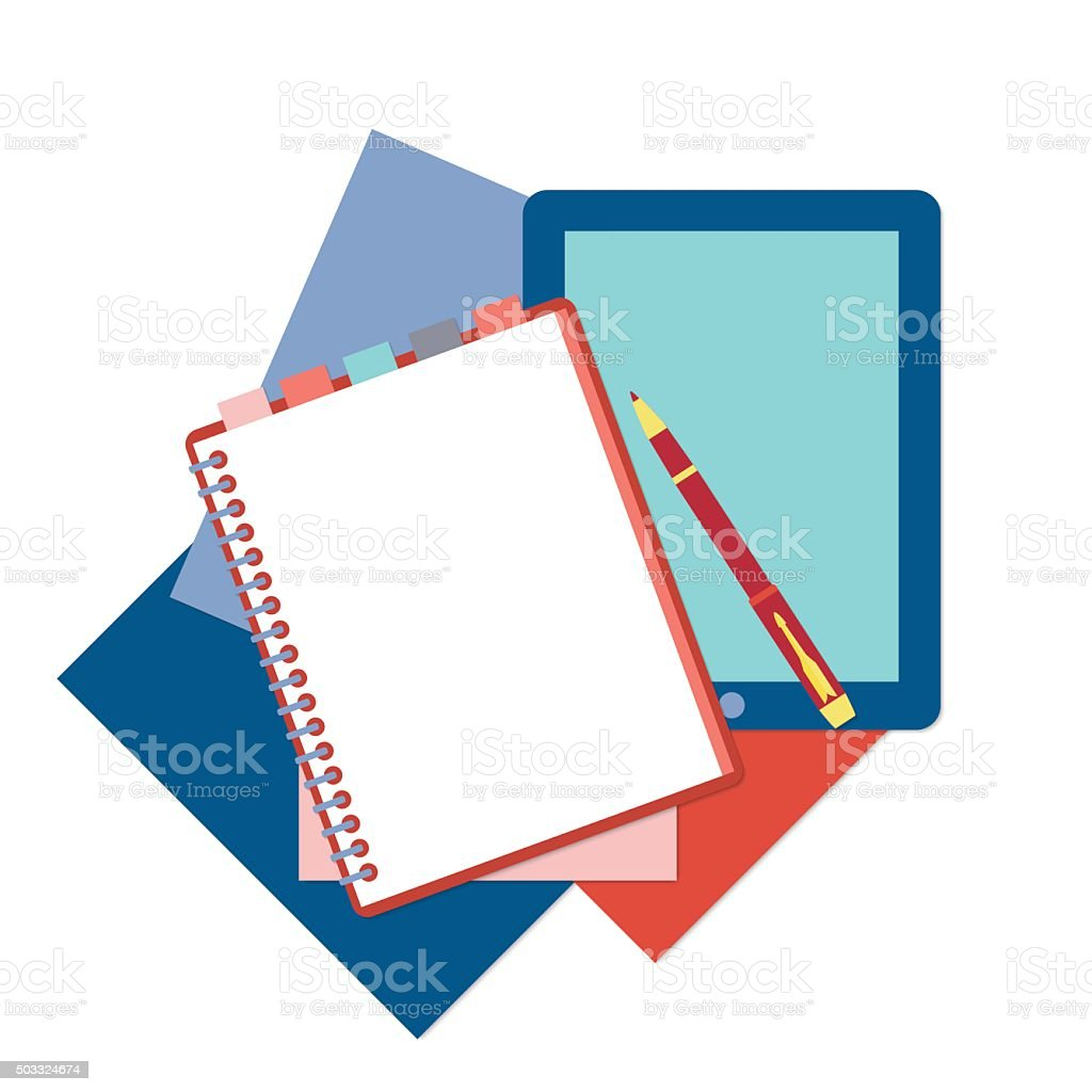 Flat design notepad, pen, tablet and color sheets of paper vector art illustration