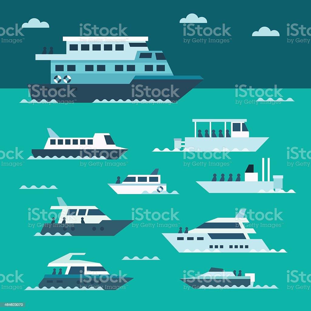 Flat design of boat set vector art illustration