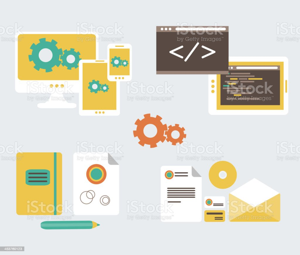 Flat design of business branding and development web page, vector...