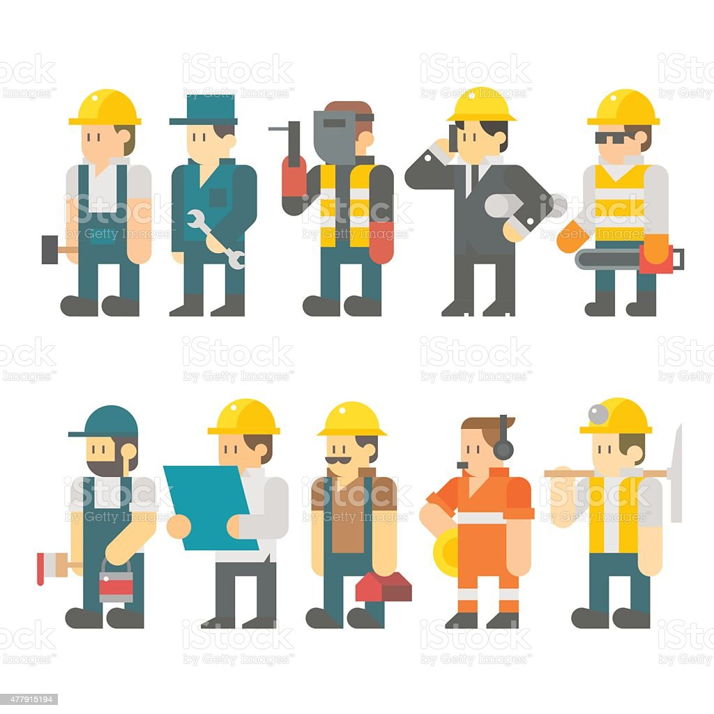 Flat design of construction worker set vector art illustration