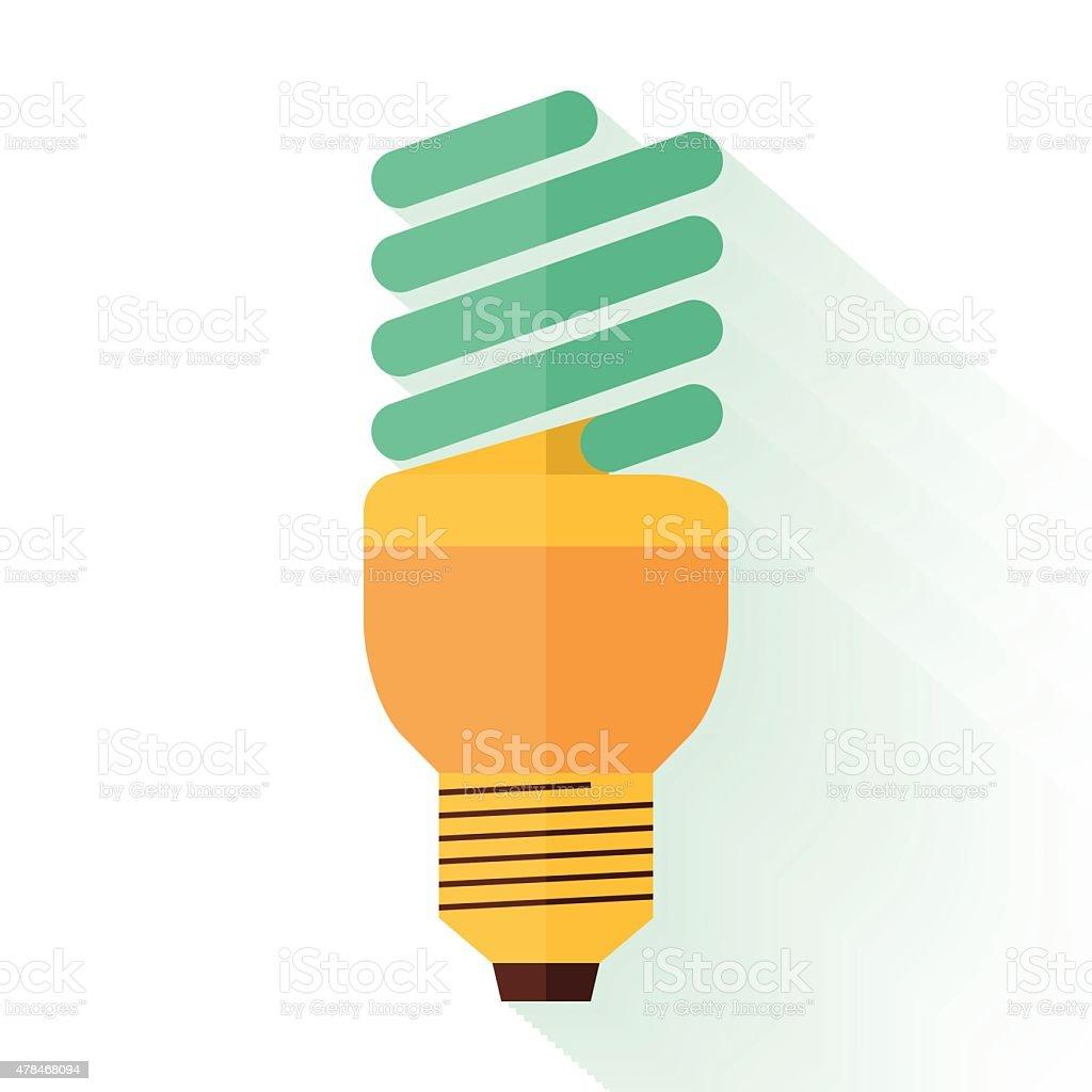 Flat design of energy saving lamp icon. Logo concept. Vector vector art illustration