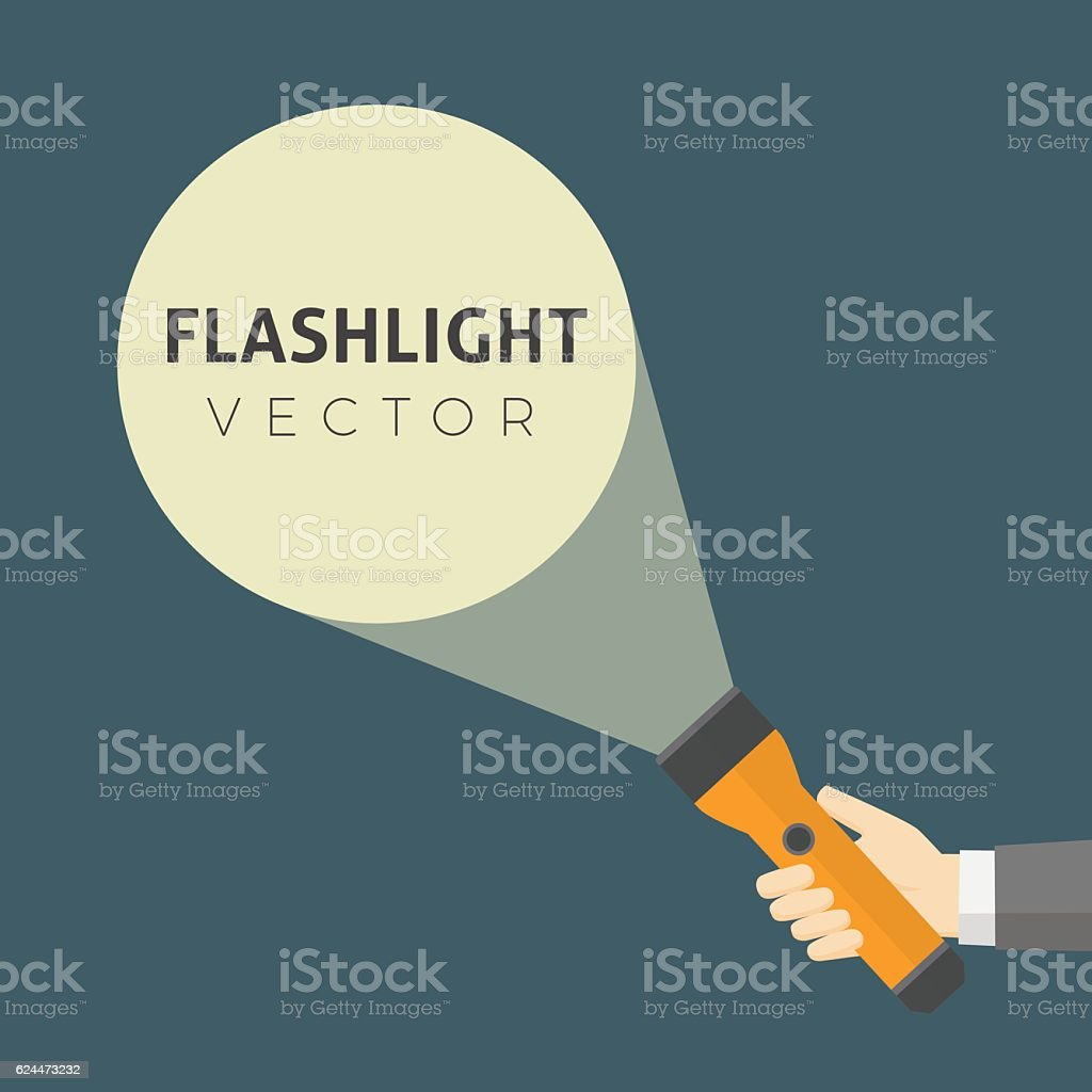 Flat Design Of Hand Holding FlashLight And Projection Light Beam vector art illustration