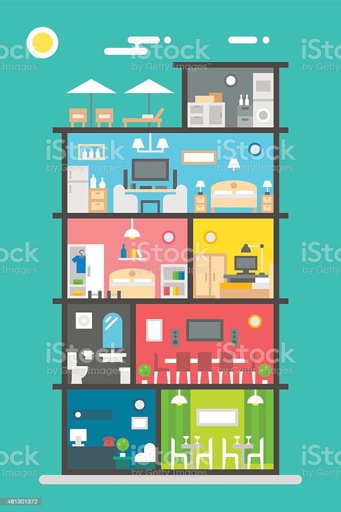 Flat design of hotel interior vector art illustration