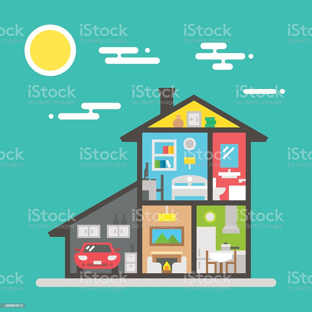 Flat design of house interior vector art illustration