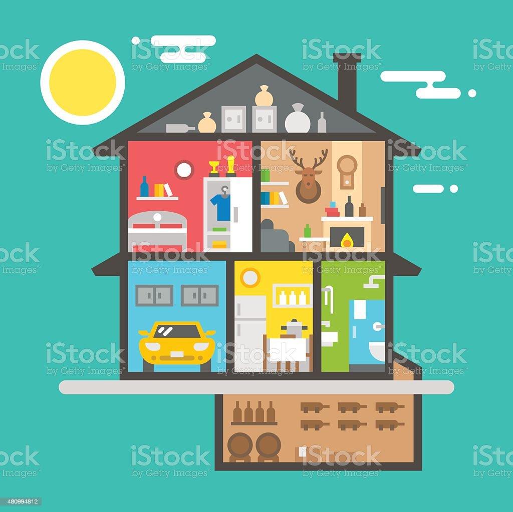 Flat design of house interior vector art illustration