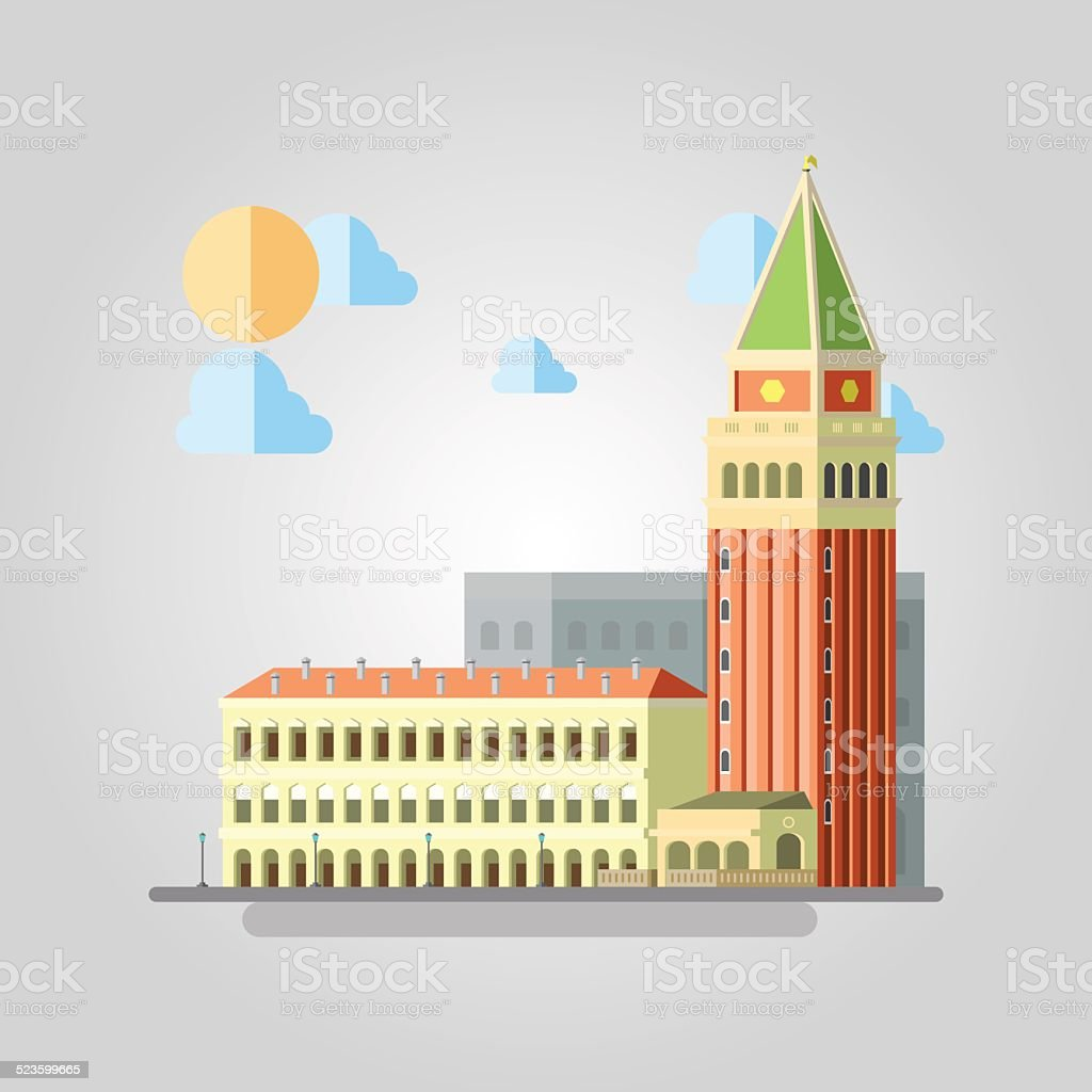 Flat design of Italian building cityscape vector art illustration
