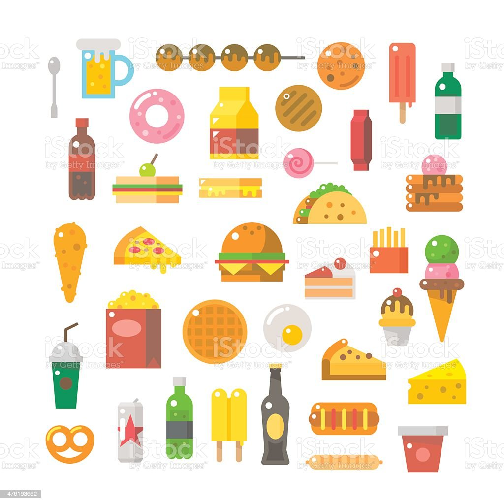 Flat design of junk food set vector art illustration