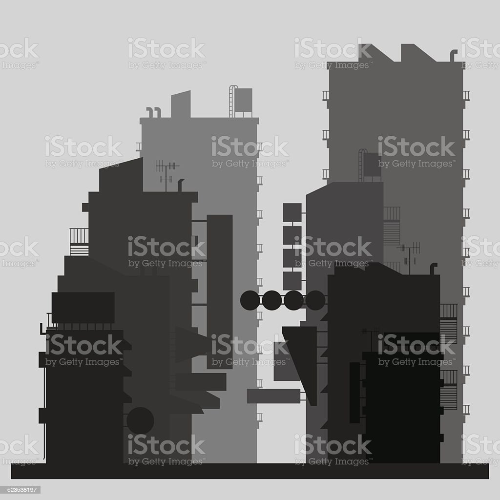 Flat design of market in the city vector art illustration