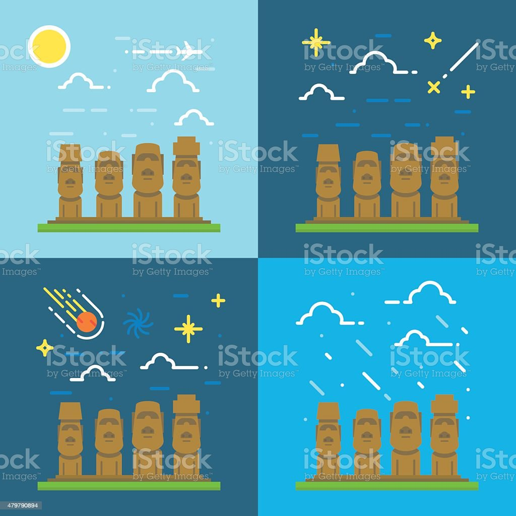 Flat design of Moai Chile illustration vector vector art illustration