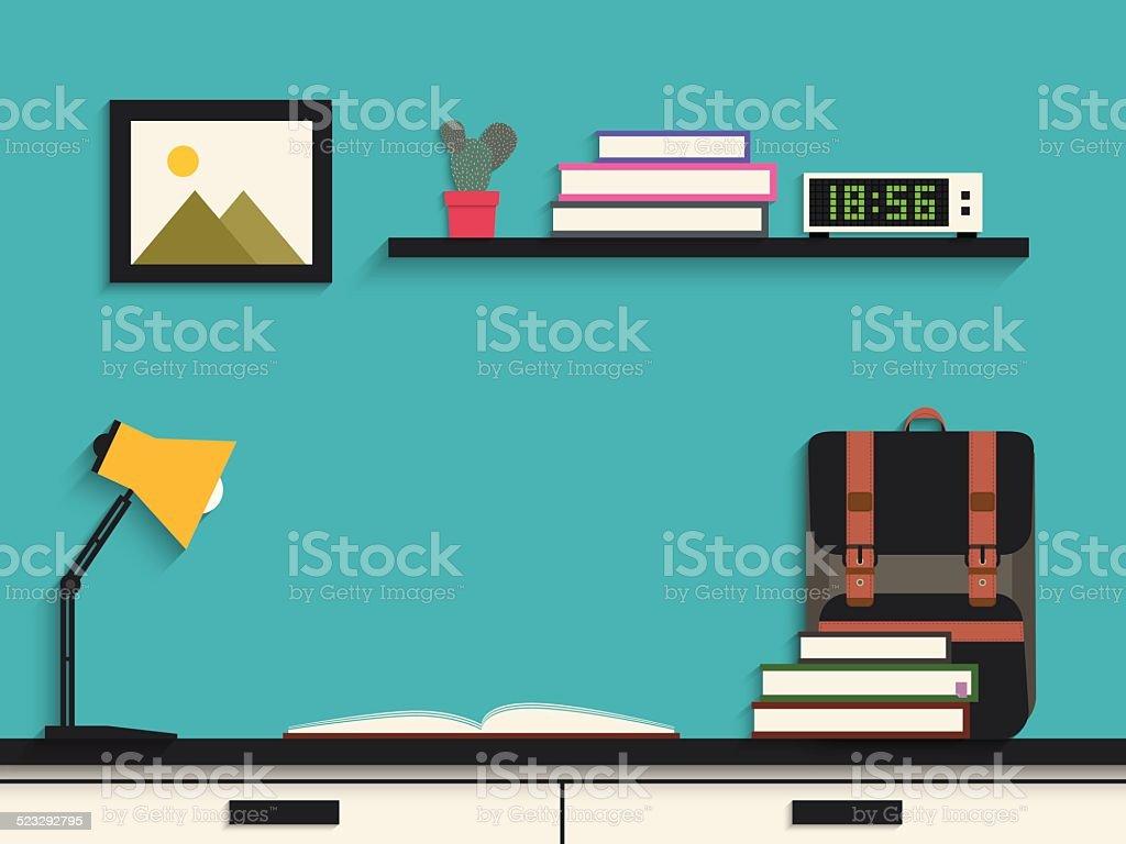 Flat design of modern learning desk 2 vector art illustration