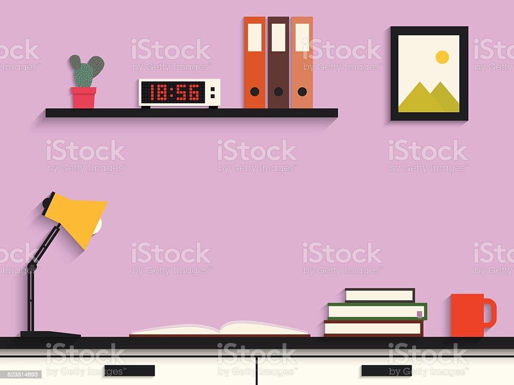Flat design of modern learning desk vector art illustration
