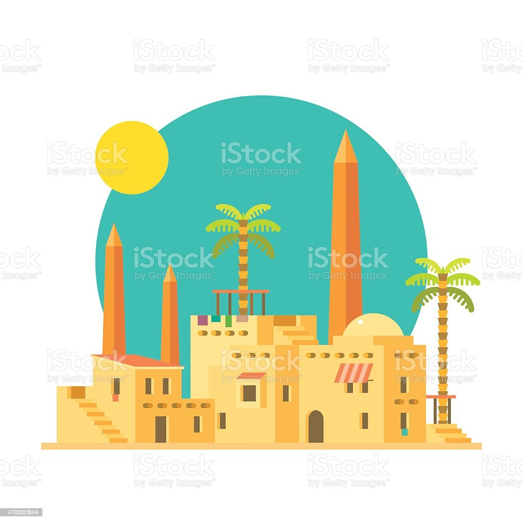 Flat design of mud houses village with obelisk vector art illustration