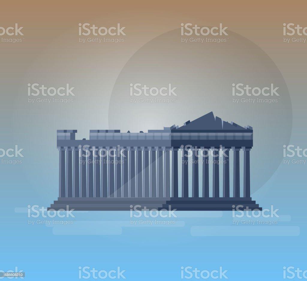 Flat design of parthenon greek illustration vector vector art illustration